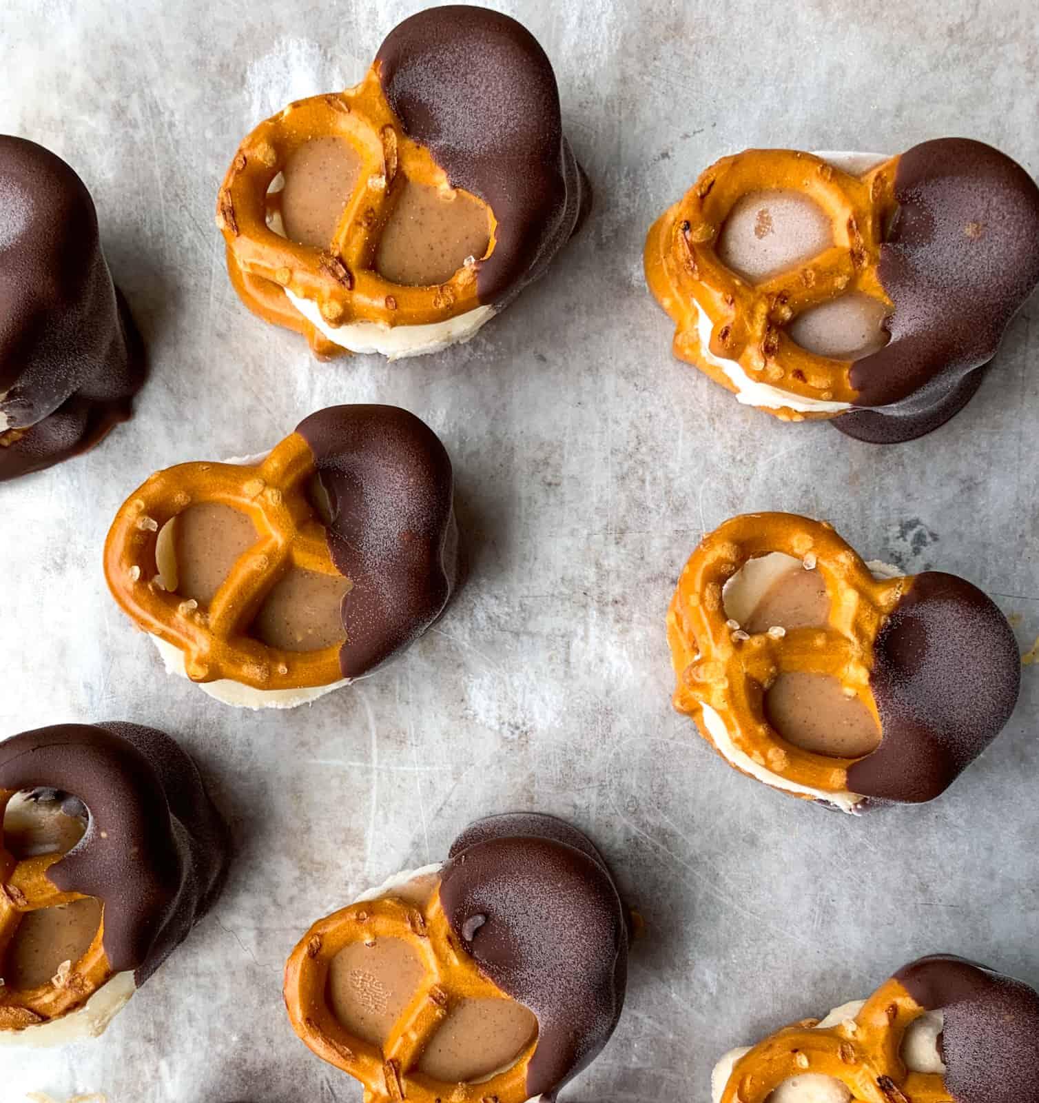chocolate dipped peanut butter banana pretzels