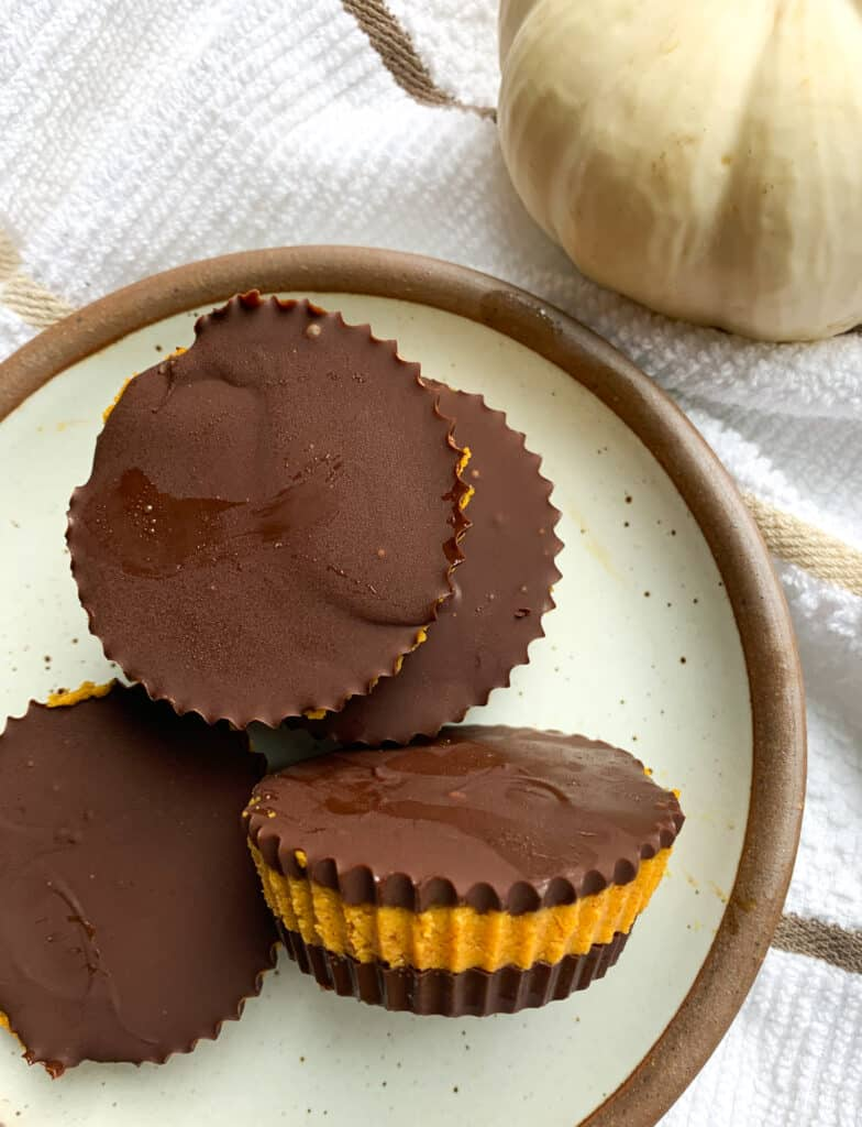 pumpkin protein peanut butter chocolate cups