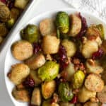 sheet pan cauliflower gnocchi, brussels sprouts and chicken sausage