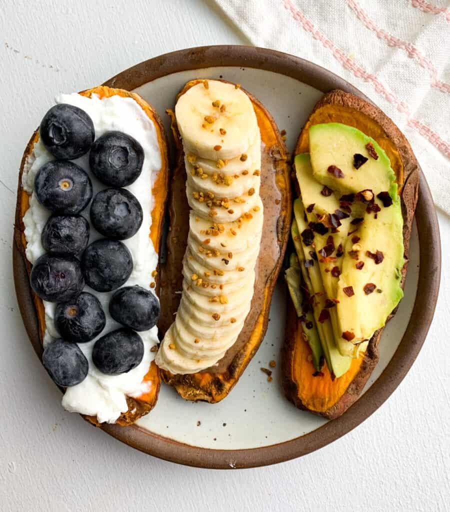 sweet potato toasts 3 ways