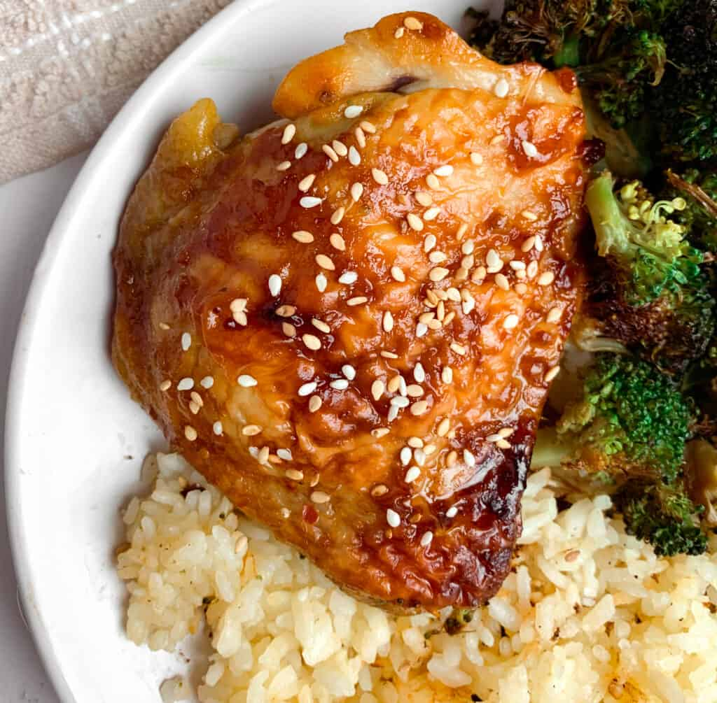 teriyaki chicken thigh, broccoli and rice