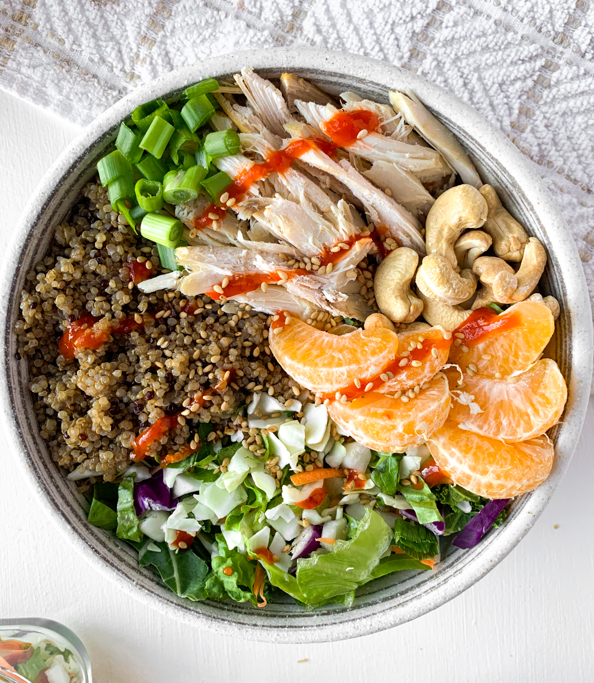 asian chicken cashew quinoa salad