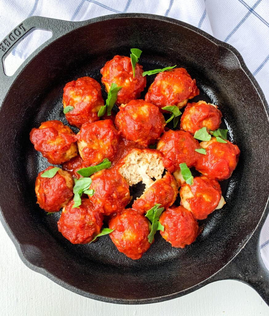 chicken parm stuffed meatballs