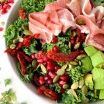 prosciutto and pomegranate kale salad