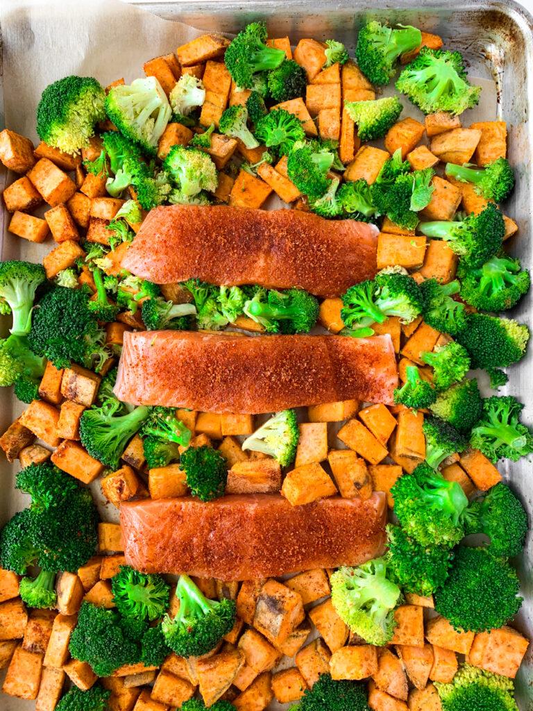 sheet pan salmon broccoli and sweet potatoes