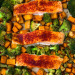 sheet pan salmon broccoli and sweet potatoes