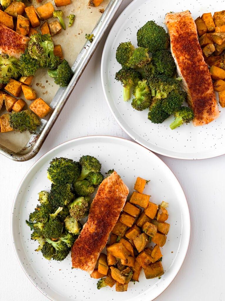 plated sheet pan salmon broccoli and sweet potatoes