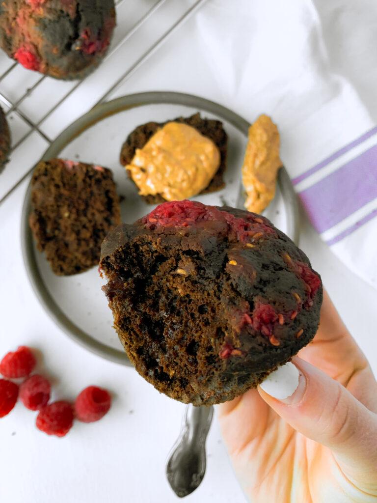 gluten free raspberry chocolate muffins