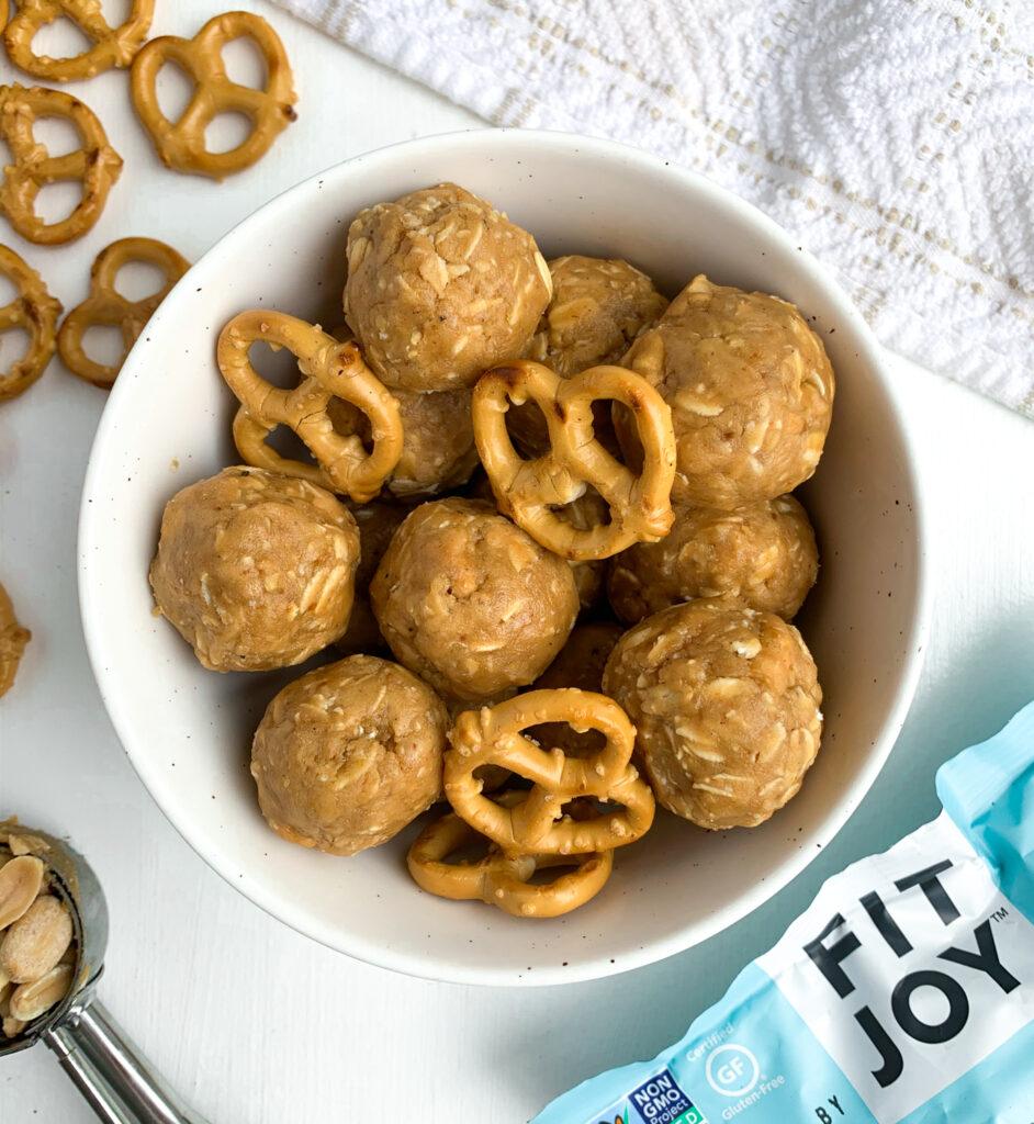 peanut butter pretzel energy bites