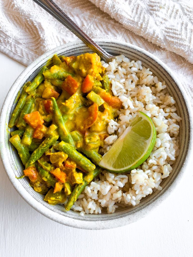 air fryer tofu coconut curry