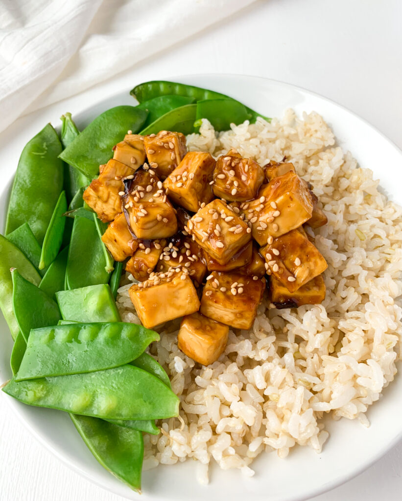 sticky ginger garlic tofu