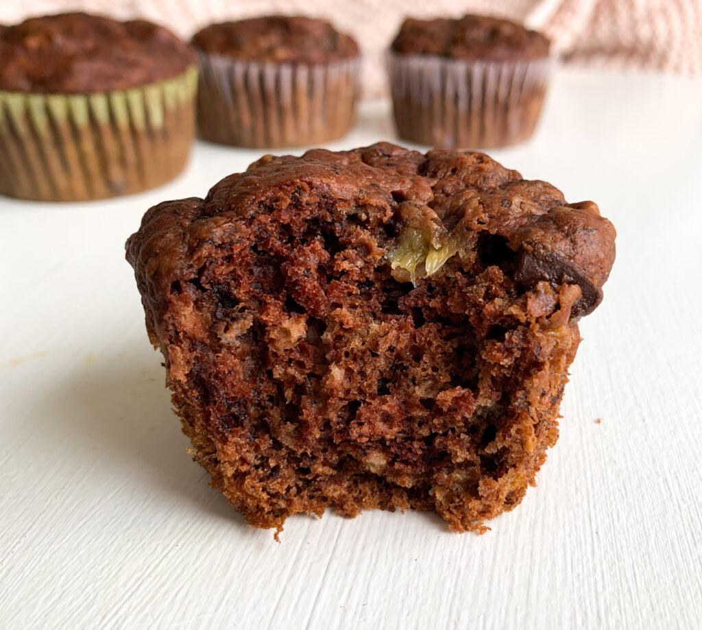 vegan chocolate banana muffins