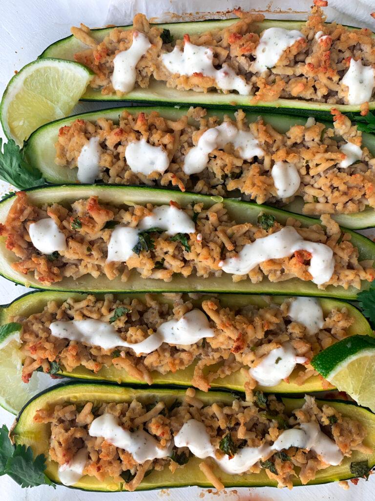 cilantro lime chicken zucchini boats